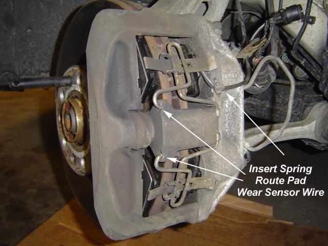 audi a8 replacing front pads hp 2 dual piston calipers aluminum owner manual. Black Bedroom Furniture Sets. Home Design Ideas
